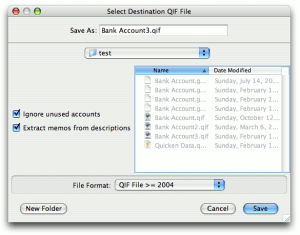 Select the destination folder for QIFs