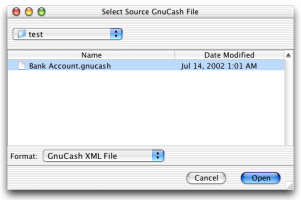 Select the GnuCash file to convert